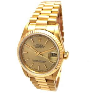 Rolex 18K Yellow Gold Datejust Watch 68278.