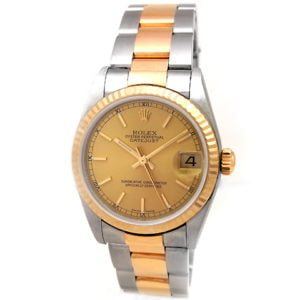 Midsize Rolex 18k Gold & Stainless Steel Oyster Perpetual Datejust Watch