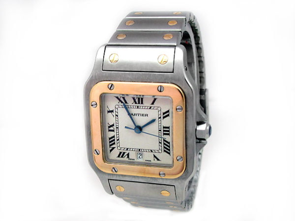 Midsize Cartier 18k Gold & Stainless Steel Santos Watch