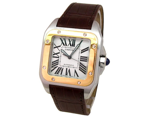 Large Cartier 18K Yellow Gold & Stainless Steel Santos 100 Watch